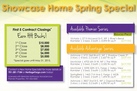 First five (5) contract closings will earn HH Bucks! Special goes until May 31, 2015.